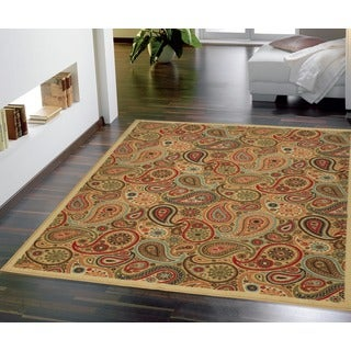 Contemporary Beige Paisley Design Non-skid Area Rug (5' x 6'6)