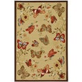 Beige Contemporary Butterflies Design Non-skid Area Rug (3'3 x 5')