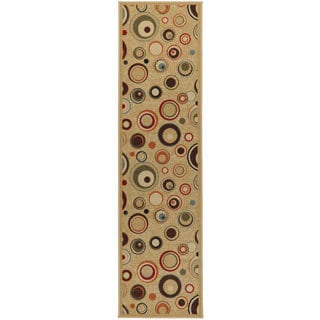 Contemporary Dazzle Design Non-skid Beige Runner Rug (1'10 x 7'0)