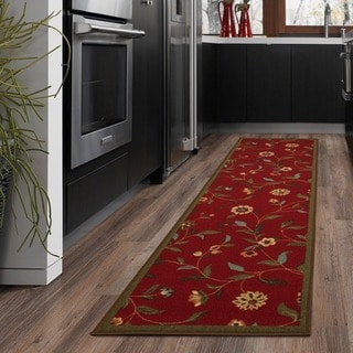 Floral Garden Design Non-skid Dark Red Runner Rug (1'8 x 4'11)