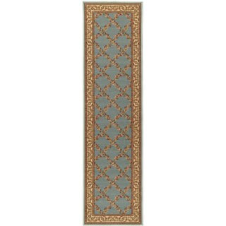 Floral Trellis Design Non-skid Sage Green Runner Rug (1'8 x 4'11)