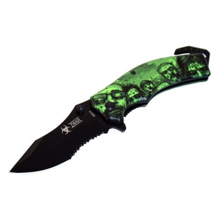 Zombie Walker 8-inch Green/ Black Spring Assisted Folding Knife
