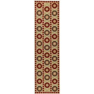 Contemporary Circles Design Non-skid Dark Red Runner Rug (1'8 x 4'11)