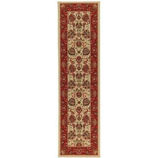 Traditional Floral Design Non-skid Beige Runner Rug (1'10 x 7')
