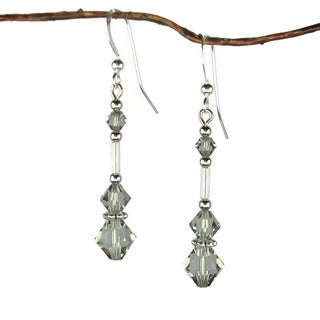 Long Grey Austrian Crystal And Silver Glass Earrings