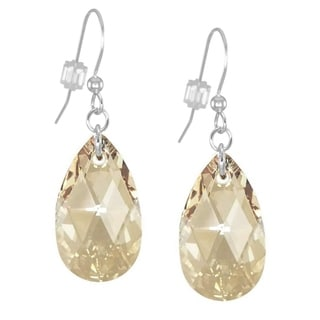Jewelry by Dawn Large Golden Shadow Crystal Pear Sterling Silver Earrings