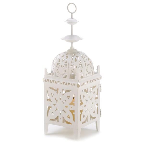 White Medallion Candle Lantern