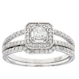 14k White Gold 1ct TDW Diamond Bridal Set (H-I, I1-I2)