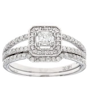 14k White Gold 1ct TDW Princess-Cut Diamond Bridal Set (H-I, I1-I2)