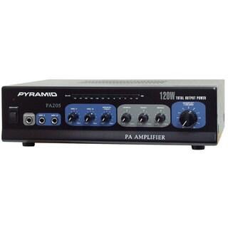 Pyramid PA205 120 Watt Microphone PA Amplifier w/ 70V Output & Mic Talkover (Refurbished)