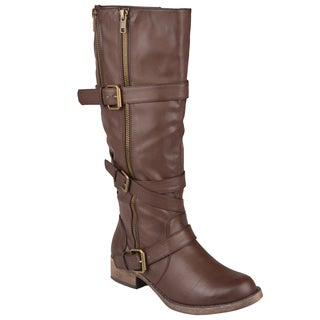 Journee Collection Women's 'Augusta' Round Toe Zipper Detail Boots