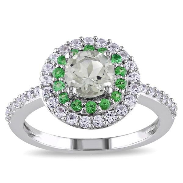 Miadora Sterling Silver Amethyst, Created White Sapphire and Tsavorite Halo Ring