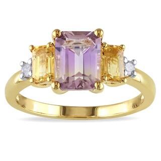 Miadora Yellowplated Silver Ametrine, Citrine and Diamond 3-stone Ring