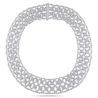 Miadora 18k White Gold 28ct TDW Diamond Necklace (G-H, SI1-SI2)