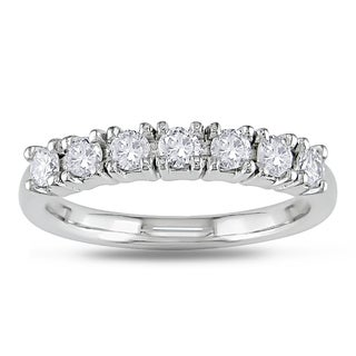 Miadora 18k White Gold 1/2ct TDW Diamond Semi-eternity Ring (G-H, VS1-VS2)