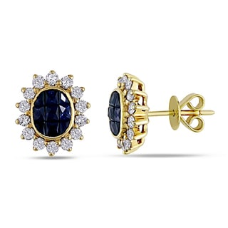 Miadora 18k Yellow Gold Sapphire and 5/8ct TDW Diamond Earrings (H-I, I1-I2)