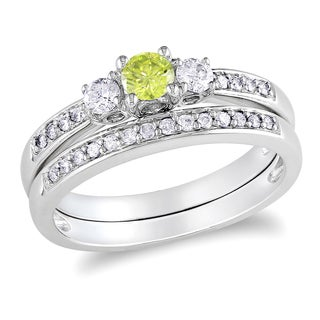 Miadora 14k White Gold 1/2ct TDW Yellow and White Diamond Bridal Ring Set (I1-I2)