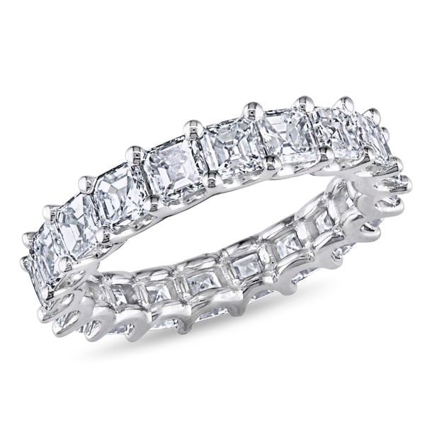 Miadora Signature Collection 18k Gold 4ct TDW Certified Asscher Cut Diamond Eternity Band (G-H, VS2-SI1)