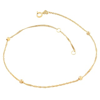 Fremada 14k Yellow Gold Singapore 4-bead Adjustable Anklet (10 inch)