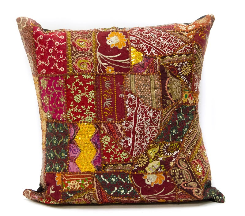 Handmade Orient Maroon Floor Cushion Cover - 25-inch Square (India)
