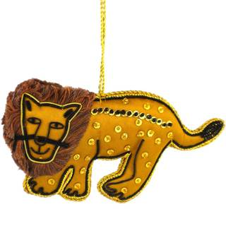 Handmade Lion Silky Ornament (India)