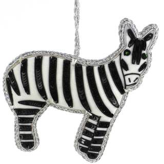 Handmade Zebra Velvet Ornament (India)