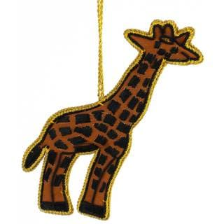 Handmade Giraffe Velvet Ornament (India)