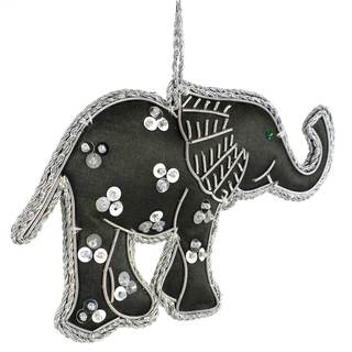 Handmade Grey Silky Elephant Ornament (India)