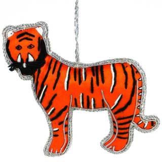 Handmade Tiger Silky Ornament (India)
