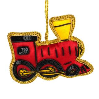 Handmade Funky Train Silky Ornament (India)
