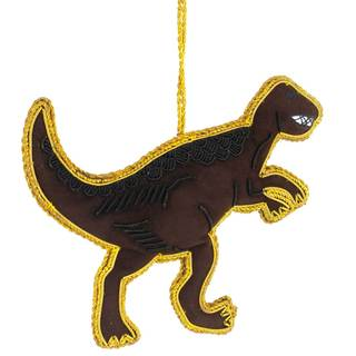 Handmade T-Rex Velvet Ornament (India)
