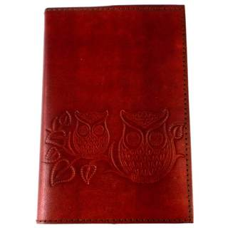 Handmade Owls on a Twig Embossed Leather Journal (India)