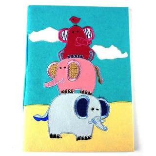 Handmade Elephant Trail Soft Embroidered Journal (India)