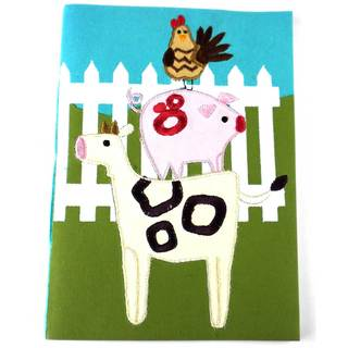 Handmade Embroidered Farm Animal Journal (India)