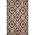 Safavieh Handmade Moroccan Cambridge Dark Brown/ Ivory Wool Rug (2' x 3')
