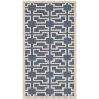 Safavieh Indoor/ Outdoor Courtyard Blue/ Beige Power-loomed Rug (2' x 3'7)