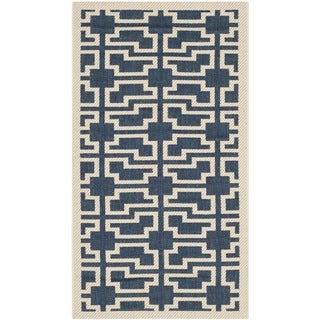 Safavieh Indoor/ Outdoor Courtyard Trellis-pattern Navy/ Beige Rug (2' x 3'7'')
