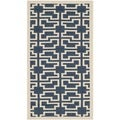 Safavieh Indoor/ Outdoor Courtyard Trellis-pattern Navy/ Beige Rug (2' x 3'7'')