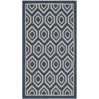 Safavieh Indoor/ Outdoor Courtyard Geometric-pattern Navy/ Beige Rug (2' x 3'7'')
