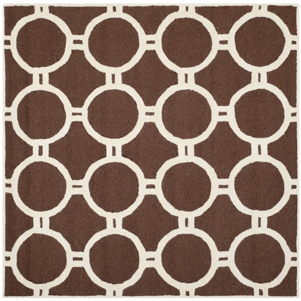 Safavieh Durable Handmade Moroccan Cambridge Dark Brown/ Ivory Circle Pattern Wool Rug (6' Square)