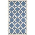 Safavieh Indoor/ Outdoor Courtyard Geometric-pattern Blue/ Beige Rug (2' x 3'7)