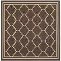 Safavieh Indoor/ Outdoor Courtyard Chocolate/ Cream Rug (6'7 Square)