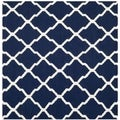 Safavieh Hand-woven Moroccan Dhurries Navy/ Ivory Wool Rug (6' Square)