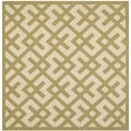 Safavieh Indoor/ Outdoor Courtyard Beige/ Green Rug (6'7 Square)