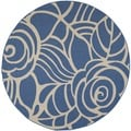 Safavieh Indoor/Outdoor Courtyard Blue/Beige Decorative Rug (7'10 Round)