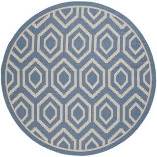 Safavieh Indoor/Outdoor Courtyard Blue/Beige Honeycomb Rug (7'10 Round)