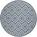 Safavieh Indoor/Outdoor Courtyard Blue/Beige Honeycomb Rug (7'10 Round)