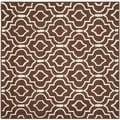 Safavieh Contemporary Handmade Moroccan Cambridge Dark Brown/ Ivory Wool Rug (8' Square)