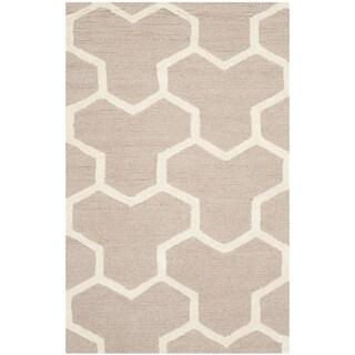 Safavieh Handmade Moroccan Cambridge Beige/ Ivory Wool Geometric-pattern Rug (3' x 5')
