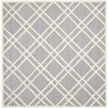Safavieh Handmade Moroccan Cambridge Silver/ Ivory Wool Geometric-pattern Rug (8' Square)